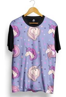 Camiseta Bsc Cute Unicorn Full Print Preto/Roxo - Masculino