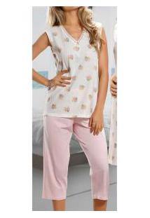 Pijama Capri Floral Poá Paulienne Classic (8790-0) 100% Algodão