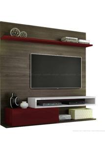 Estante Home Theater Para Tv Até 60 Polegadas 1 Porta Basculante Qn795 100% Mdf 150 X 180 X 40 Carvalho Francês/Bordô/Branco - Quiditá