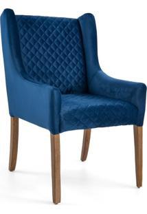 Poltrona Decorativa Sala De Estar Haya Tressê Veludo Azul - Gran Belo