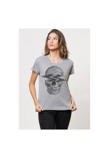 Camiseta Jay Jay Básica Caveira Na Onda Cinza Mescla