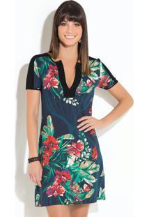 Vestido Clássico Floral Marinho Com Recortes