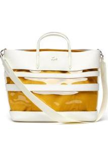 Bolsa Lacoste Couro Feminina - Feminino-Amarelo+Branco