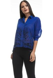 Camisa Gongora Estampada 3/4 12004 - Feminino-Azul