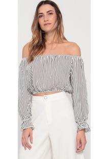 Blusa Cropped Ciganinha Listrada- Branca & Preta- Mymy Favorite Things
