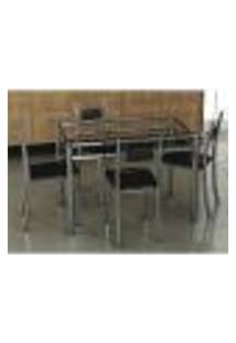 Conjunto De Mesa Com 4 Cadeiras Thays Prata E Preto