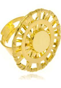 Anel Le Diamond Com Aro Vazado Dourado