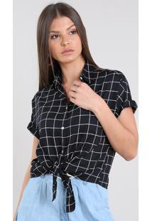 Camisa Feminina Cropped Estampada Xadrez Com Nó Manga Curta Preta