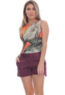 Short Clara Arruda Alfaiateria 30050 Vinho