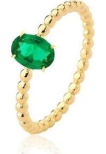 Anel Solitário Oval Zircônia Esmeralda Banhado 18K Lys Lazuli Feminino - Feminino-Dourado