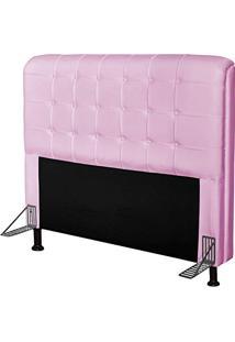 Cabeceira Para Cama Casal Box 195 Cm Califórnia Corino Rosa - Js Móveis