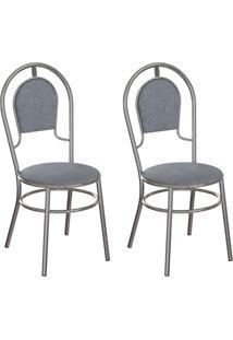 Conjunto Com 2 Cadeiras Hobart Cinza E Cromado