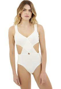 Body Rosa Chá Mirela Tricot Off White Feminino (Off White, P)