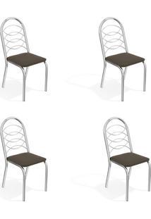 Conjunto Com 4 Cadeiras De Cozinha Holanda Cromado E Marrom