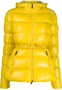 Moncler Jaqueta Matelassê Com Cinto - Amarelo