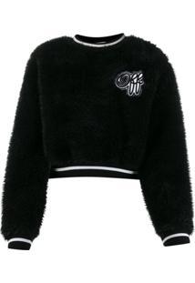 Off-White Suéter Cropped Com Textura - Preto