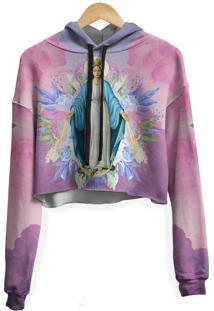 Blusa Cropped Moletom Feminina Santa Maria Floral Md01 - Rosa - Feminino - Poliã©Ster - Dafiti