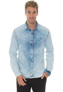 Camisa Timberland Light Denim Masculina - Masculino-Azul Claro