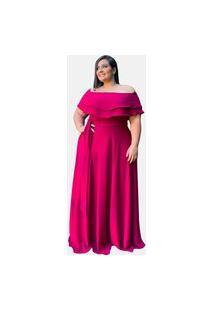 Vestido Longo Tnm Collection Plus Size Madrinha Pink Strong