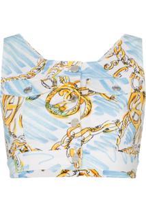 Moschino Blusa Jeans Cropped Com Estampa - Branco