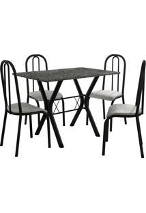 Conjunto De Mesa Miami 4 Cadeiras Preto Fosco/Vegetale Fabone Móveis Tubulares