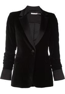 Alice+Olivia Macey Pleated Sleeve Blazer - Preto