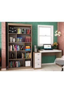 Escrivaninha Com 3 Gavetas E Estante Para Escritório-Ho-2957-Hecol - Avela / Branco
