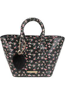 Bolsa Loucos & Santos Shopper Pompom Vintage Flower Soft Feminina - Feminino-Floral
