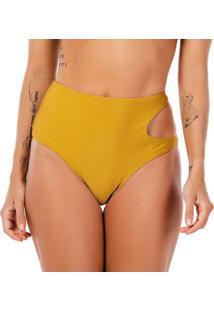 Calcinha Hot Pant Com Recorte - Amarelo Escuro - Fleuse Flee