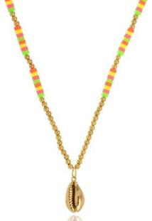 Colar Le Diamond Multicolorido Com Búzio - Feminino-Dourado