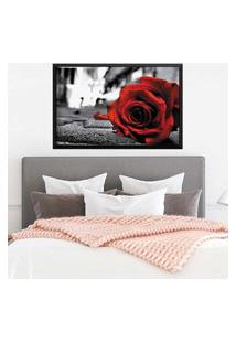 Quadro Love Decor Com Moldura Rose On The Floor Preto Grande