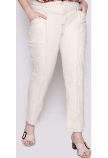 Calça Almaria Plus Size Izzat Almada Jeans Offwhite Branco