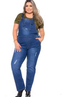 Jardineira Reta Almaria Plus Size Fact Jeans Azul