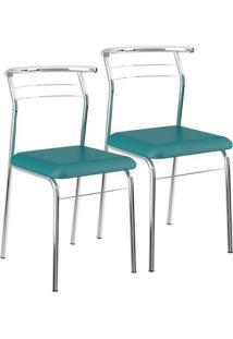 Mesa 1527 Vidro Incolor Cromada Com 4 Cadeiras 1708 Cromada Turquesa Carraro
