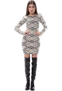 Vestido Corporio Tricot 3D Azulejo - Feminino-Bege