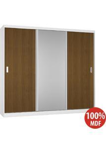 Guarda Roupa 3 Portas Com 1 Espelho 100% Mdf 5393E1 Branco/Imbuia - Foscarini