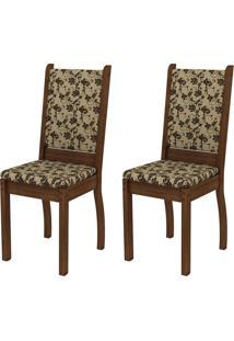 Kit 2 Cadeiras 4238X Bege E Marrom Alive Madesa