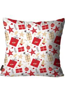 Capa Para Almofada Mdecore Natal Presente Branca 45X45Cm