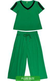 Conjunto Blusa E Calça Pantacourt Verde