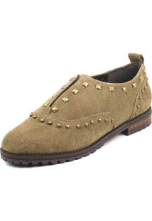 Oxford Flats&Co Suede Rebites Bege