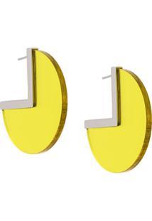 Isabel Marant Par De Brincos Bicolor 90° - Amarelo