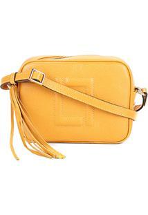 Bolsa Couro Luz Da Lua Mini Bag New Ridge Barbicacho Feminina - Feminino-Amarelo