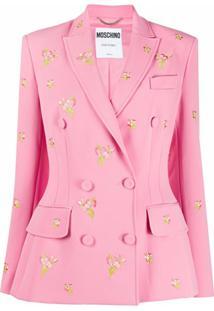 Moschino Blazer Com Bordado Floral E Abotoamento Duplo - Rosa