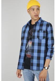 Camisa Masculina Estampada Xadrez Com Bolsos Manga Longa Azul