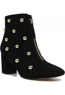 Bota Zariff Shoes Ankle Boot Zíper Feminino - Feminino-Preto