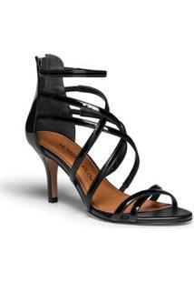 Sandalia Salto Medio Tiras Finas Preto