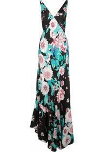 Dvf Diane Von Furstenberg Vestido Decote Em V Com Estampa Floral - Preto