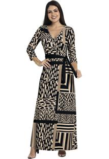 Vestido Longo Formal Animal Print