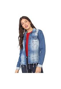 Jaqueta Jeans Enfim Estonada Azul