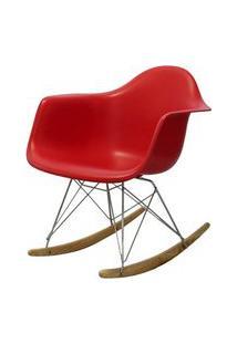 Cadeira Eames Com Braco Base Balanco Vermelho Fosco - 24502 Preto